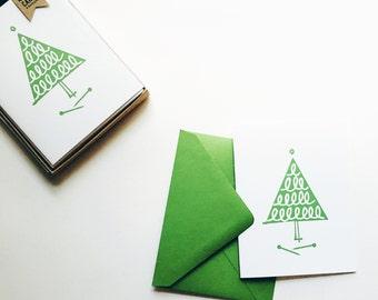 Knitting Tree Holiday Card: set of 8