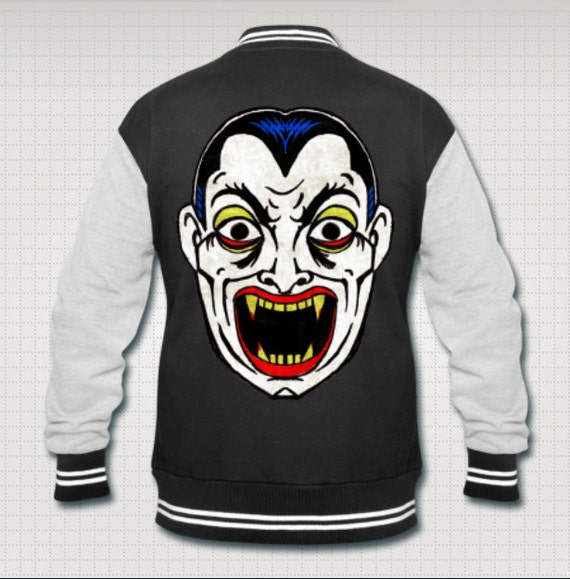 Dracula Vampire Halloween Mask varsity jacket