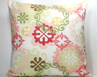 16 x 16 inch OR 18 x 18 inch Decorative Throw Pillow Cover- Multi-Colored on Off White - Invisible Zipper Closure