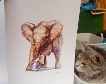Baby Elephant Print Childrens Room Decor Watercolor