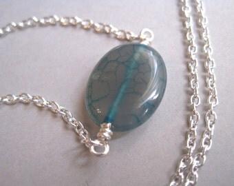 Crackle Agate Necklace, Agate Pendant Necklace, Veined Stone Necklace, Minimalist Necklace, Aqua Necklace