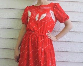 Sheer Red Print 70s Dress Retro Leaf Leaves Vintage 1970s S Sears