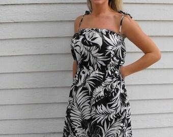 SHOP SALE Black White Floral Print Summer Dress Sun Sheer Hawaii Vintage S