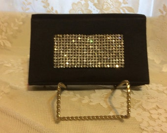 Stunning Black Satin Clutch with Rhinestones by Soure'