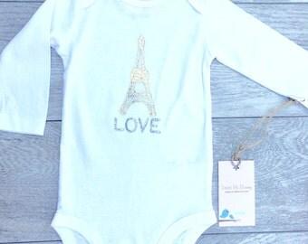 Eiffel Tower - Paris France - Gold Shimmer - Kids - Baby - Toddler - Onesie Long Sleeve