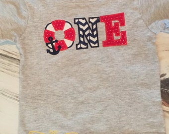 Nautical Theme First Birthday Shirt