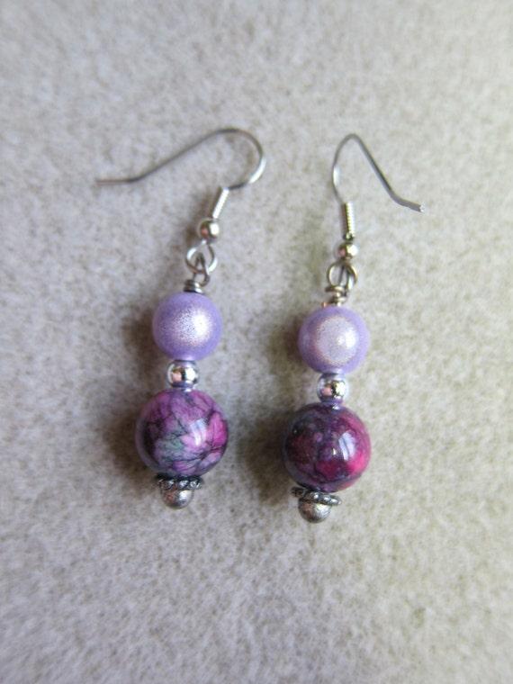 Marsala Drop Dangle Earrings Surgical steel ear wires handmade watercolorsNmore