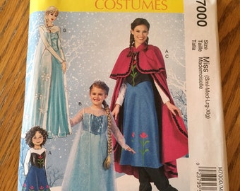 McCall's costumes pattern M7000. Disneys Frozen - Anna and Elsa. Misses sizes Small to Extra Large. New and uncut