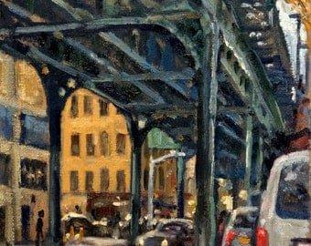 Under the 1 Train 214th Street, NYC. 8x10 New York City Realist Oil on Canvas, Urban Impressionist Fine Art, Signed Original Oil Painting