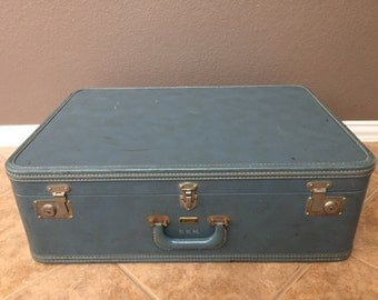 Vintage Oshkosh Blue Leather Suitcase.  Antique Luggage with Keychain.