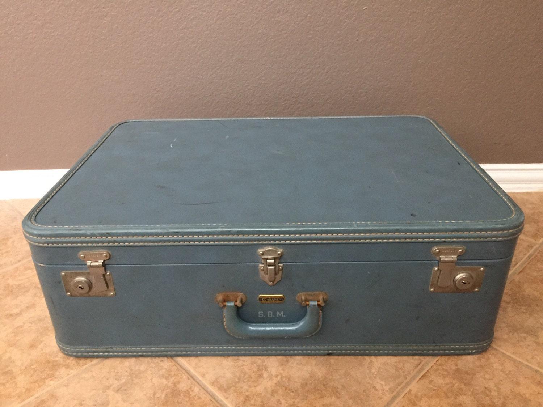 Vintage Oshkosh Blue Leather Suitcase. Antique Luggage with