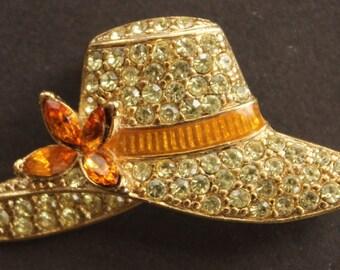 Monet Rhinestone 'Straw Hat' Pin