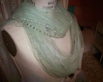 Antique silk tulle scarf gossamer rhinestones pink and mint
