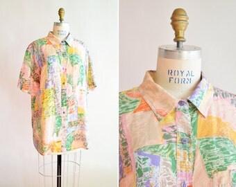 Vintage 1980s SILK short sleeved blouse