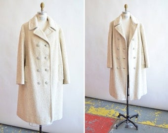 Vintage 1980s CREAM mohair wool doublebreasted coat