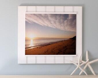 Beach Photography- Golden Day, metallic finish canvas panel, large wall art, calming art, coastal decor, cloud photography, sunrise, dawn