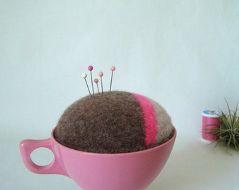 Pincushion Pink Teacup Brown Wool Handmade in Vintage Melmac Cup Make-Do