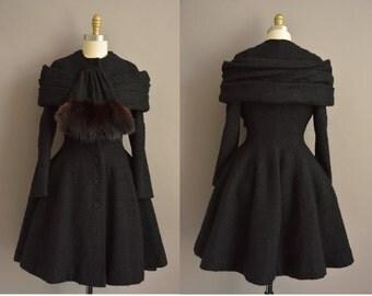 Gorgeous rare vintage 1950s LILLI ANN black princess coat / vintage 1950s coat