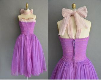 50s strapless purple chiffon vintage party prom dress / vintage 1950s dress
