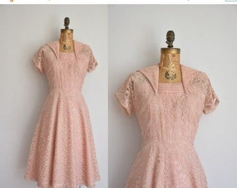 25% off SHOP SALE... 1950s dress/vintage 50s dress/ champagne pink lace dress