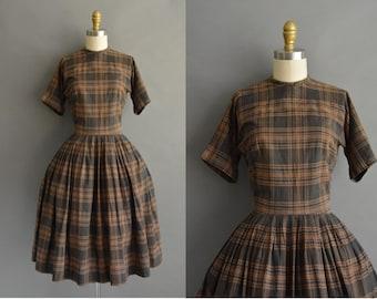 vintage 1950s dress / 50s brown and black plaid cotton vintage dress