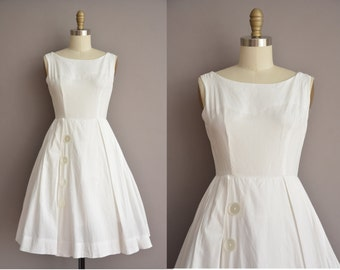 50s white cotton full skirt vintage dress / vintage 1950s dress
