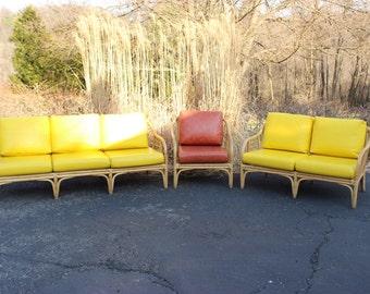 Vintage Mid Century Bamboo Couch Loveseat Chair Yellow Vinyl Cushions Tiki Philippines Rattan Beach