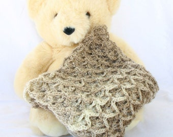 Crochet cowl brown tan cream soft lace round circle scarf wide cabled neckwarmer winter wear neckwear textured pretty accessory warm