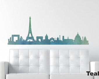 Paris Wall Decals - Paris Silhouette - City Skyline Decal - Paris Decal - City Silhouette - Eiffel Tower Wall Decal