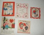 14)  Five Used Vintage Valentine Cards