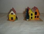 G)  Two Small Cardboard Christmas Houses