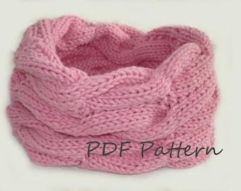 KNITTING PATTERN- Cable Infinity Scarf PDF knitting pattern