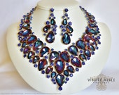 Blue Crystal Bridal Jewelry Set, Statement Necklace, Back Drop Necklace, Vintage Style Wedding Necklace Earrings, Chunky Necklace