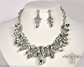 Bridal Jewelry Set, Wedding Jewelry Set, Crystal Statement Necklace, Vintage Inspired Necklace, Bridal Necklace Earrings, Evening Jewelry