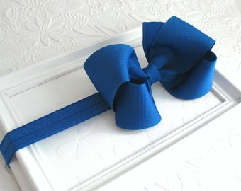 Royal Blue Bow Headband, Baby Bow Headband, Royal Blue Hair Bow, Baby Headband, Infant Headband, Toddler Hair Bow, Girls Hair Accessories