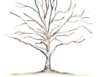 """Large (Charity and Chris) Sycamore Thumbprint Tree Guest Book for up to 225 guests 20""""x30"""" Watercolor"""