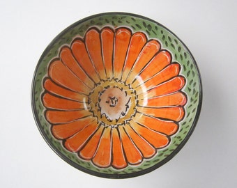 Small Ceramic Pottery Bowl - Pottery Bowl - Zinnia Flower - Ceramic Dish - Kitchen Prep Bowl - Majolica Bowl - Orange on Green - Cereal bowl