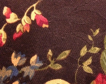 Black Floral Jacquard Fabric Remnant/ Quilting Fabric Remnant