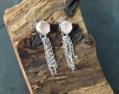 Sterling silver handmade rose quartz earrings, hallmarked in Edinburgh