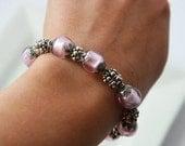 Pink Bracelet,Silver Bracelet,Pink Jewelry,Friendship bracelet,Chunky Bracelet,Beaded Bracelet,Layering Bracelet,Mothers Day Gift