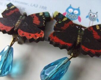 Butterfly, CLIP ON, earrings, wood, dangle, tear drop, faceted glass, black, red, blue, by NewellsJewels on etsy