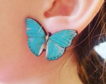 Blue, Butterfly, clip on, earrings, clip on earrings, wood, wooden, by NewellsJewels on etsy