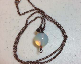 Sea Opal Pendant wire wrapped in Copper Wire 1.5 Inches Long on 22 Inch Antique Copper Rolo Chain Previously Thirty Dollars ON SALE