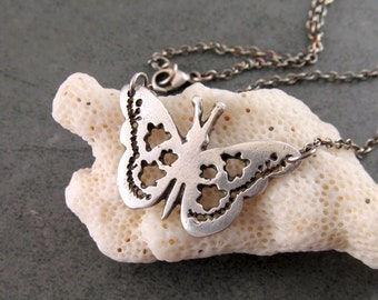 Fine silver butterfly necklace, handmade eco friendly pure silver-OOAK