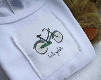 Bike or Bicyclette Onesie Baby French Text, Onesie Cotton Infant Baby Short Sleeve, Sizes: 3-6 Month OR 6-12 Month
