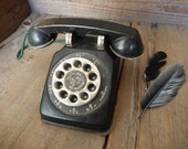 Vintage Tin Toy Phone Black Painted Metal RARE FIND Rustic Farmhouse Patina Decoration Display Piece by AMarigoldLife