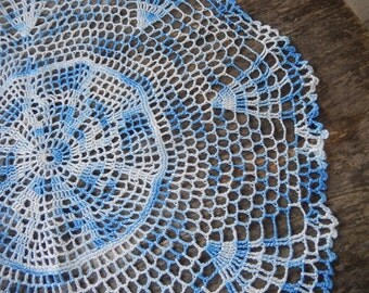 Vintage Doily Large Romantic Cottage Chic Decor Handmade Blue Ombre Kitchen Home Decor