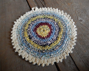 Vintage Pot Holder Crochet Colorful Textured Farmhouse Cottage Chic Handmade Kitchen Home Decor
