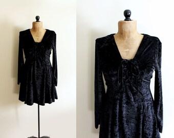 vintage dress black velvet 1990s womens clothing mini velour corset size small s