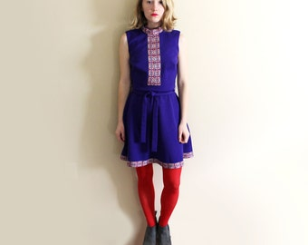 vintage dress mod shift purple womens clothing 1960s twiggy go go folk size small s